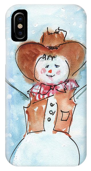 Cowboy Snowman Watercolor Painting By Kmcelwaine IPhone Case