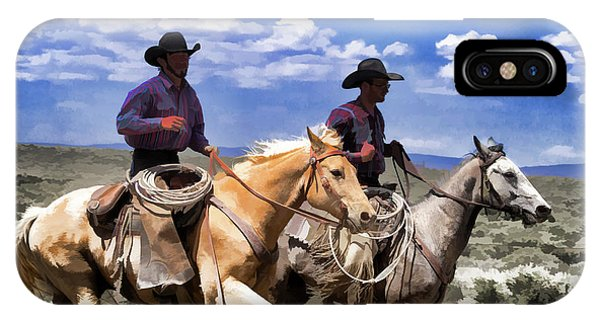 Cowboys On Horseback Riding The Range IPhone Case