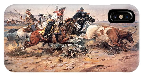 Wild Horses iPhone Case - Cowboys Roping A Steer by Charles Marion Russell