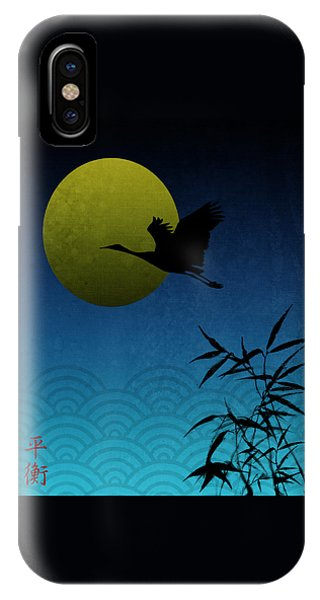 Crane And Yellow Moon IPhone Case