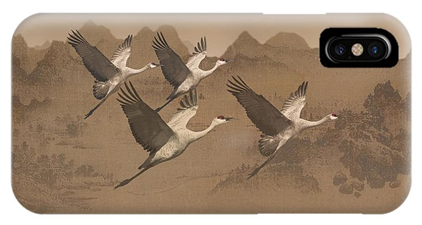 Cranes Migrating Over Mongolia IPhone Case