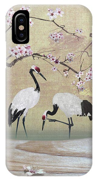Cranes Under Cherry Tree IPhone Case