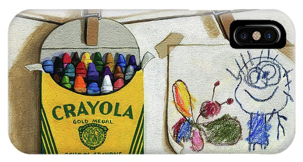 Box Of Crayons And Child's Drawing Realistic Still Life Painting IPhone Case