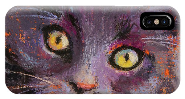 Crazy Cat Black Kitty IPhone Case