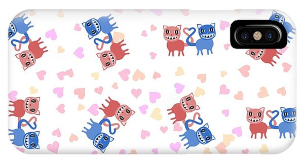 Pajama iPhone X Case - Crazy Pink Blue Lovely Cats by Lenka Rottova