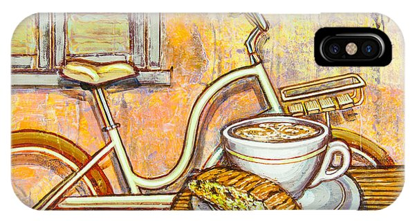 Cream Electra Town Bicycle With Cappuccino And Biscotti IPhone Case