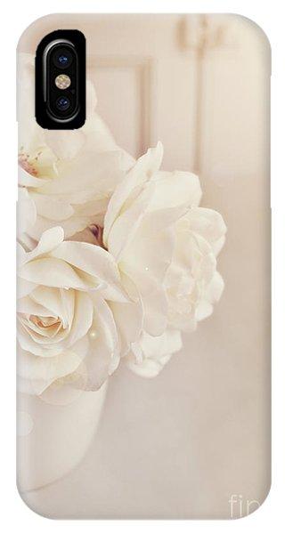 Cream Roses In Vase IPhone Case