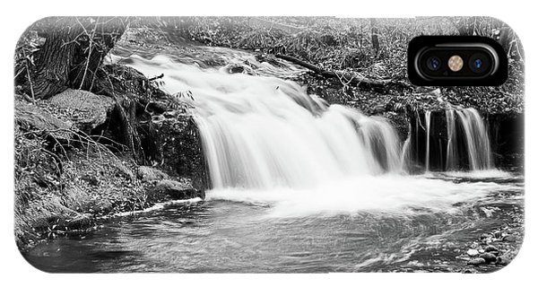 Creek Merge Waterfall In Black And White IPhone Case