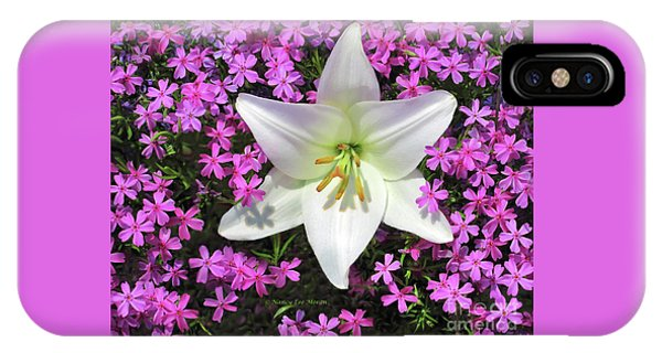 IPhone Case featuring the photograph Creeping Fuchsia Phlox With Lily by Nancy Lee Moran