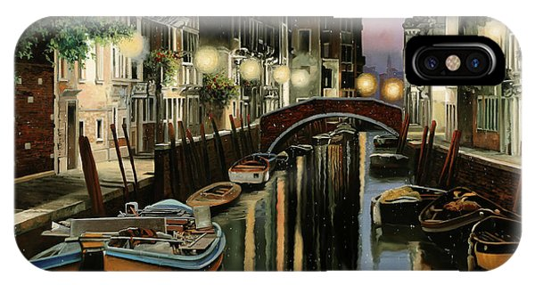 Docked Boats iPhone Case - Crepuscolo In Laguna by Guido Borelli