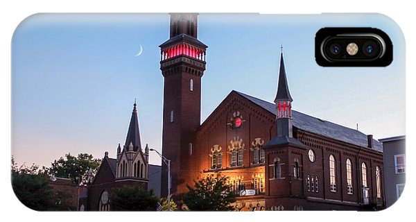 IPhone Case featuring the photograph Crescent Moon Over Old Town Hall by Sven Kielhorn