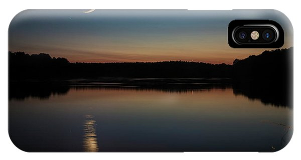 Crescent Moon Set At Lake Chesdin IPhone Case