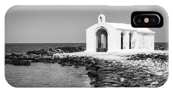 Chapel iPhone Case - Cretan Chapel - Black And White by Delphimages Photo Creations