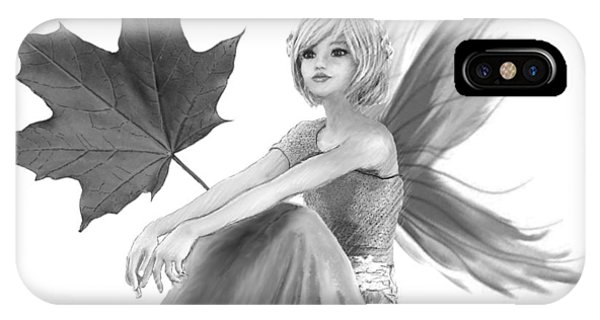 Crimson King Maple Fairy With Leaf B And W IPhone Case
