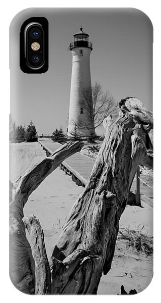 Crisp Point Lighthouse With Driftwood IPhone Case