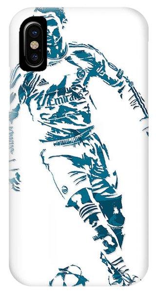 Cristiano Ronaldo iPhone Case - Cristiano Ronaldo Real Madrid Pixel Art 1 by Joe Hamilton