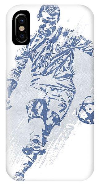 Cristiano Ronaldo iPhone Case - Cristiano Ronaldo Real Madrid Water Color Art 2 by Joe Hamilton