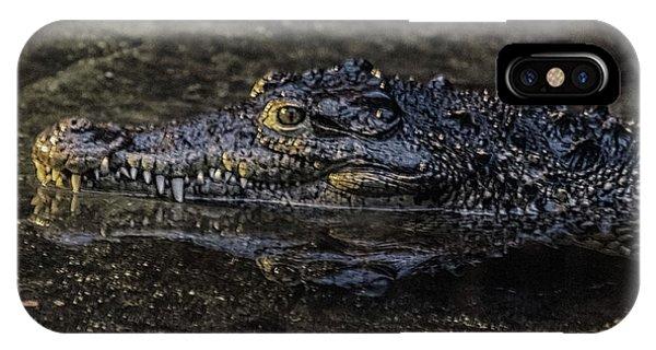 Crocodile iPhone Case - Crocodile Reflections by Martin Newman