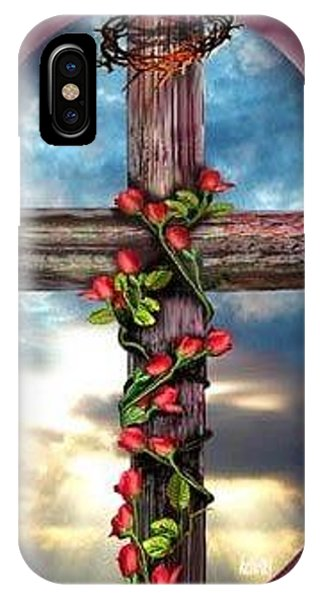 Old Rugged Cross iPhone Case - Cross N Roses by KC Krimsin