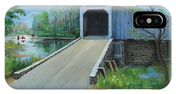 Crossing At The Covered Bridge IPhone Case