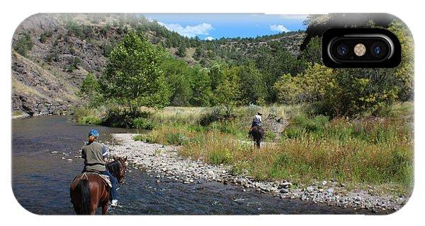 Crossing The Gila On Horseback IPhone Case