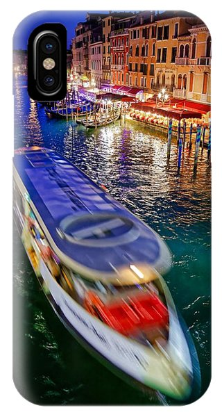 Vaporetto Crossing The Grand Canal At Night In Venice, Italy IPhone Case