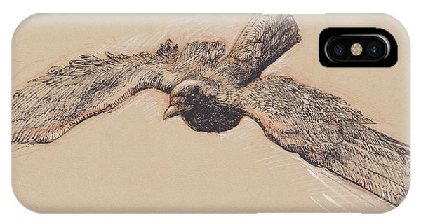 Raven iPhone Case - Crow In Flight by Tracie Thompson