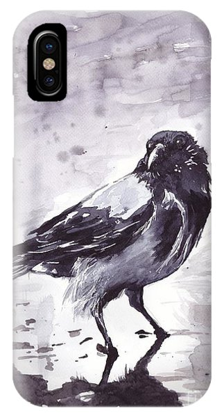 Sparrow iPhone Case - Crow Watercolor by Suzann's Art