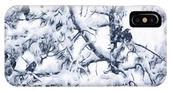 Crows In Snow IPhone Case