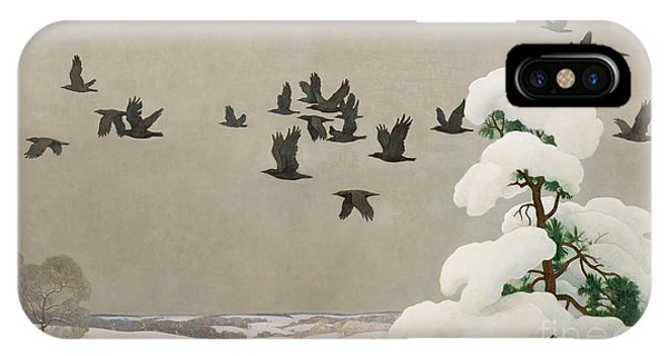 In Flight iPhone Case - Crows In Winter by Newell Convers Wyeth