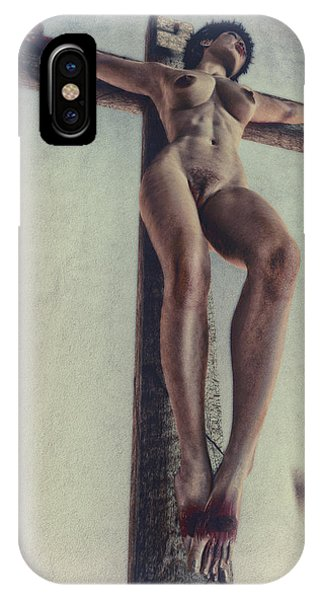 Frau iPhone Case - Crucified In The Street by Ramon Martinez