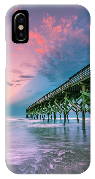 IPhone Case featuring the photograph Crystal Beach Pier Sunset In North Carolina by Ranjay Mitra