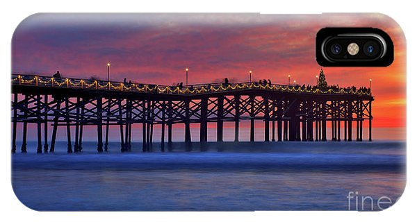 Crystal Pier In Pacific Beach Decorated With Christmas Lights IPhone Case