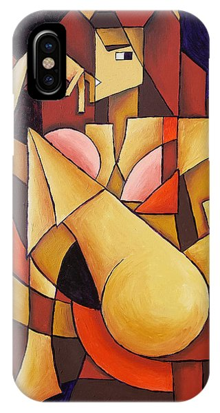 IPhone Case featuring the painting Cube Woman by Sotuland Art