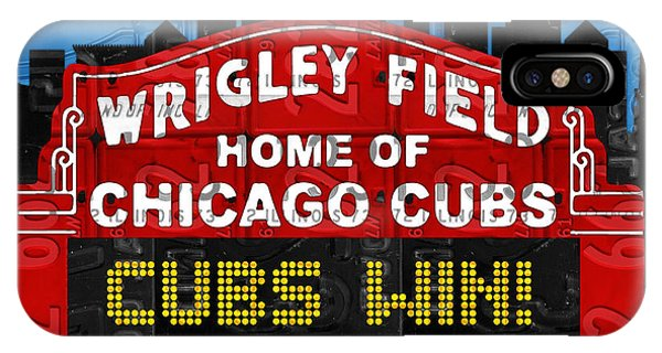 Illinois iPhone Case - Cubs Win Wrigley Field Chicago Illinois Recycled Vintage License Plate Baseball Team Art by Design Turnpike