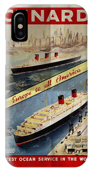 Cunard - Europe To All America - Vintage Poster Folded IPhone Case