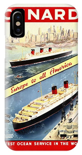 Cunard - Europe To All America - Vintage Poster Restored IPhone Case