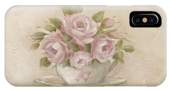Cup And Saucer  Pink Roses IPhone Case