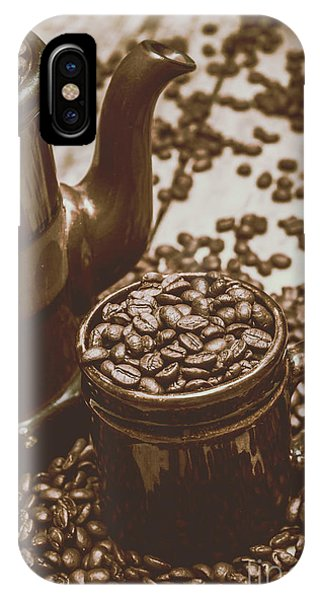 Container iPhone Case - Cup And Teapot Filled With Roasted Coffee Beans by Jorgo Photography - Wall Art Gallery