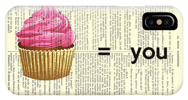 Funky iPhone Case - Pink Cupcake Equals You Print On Dictionary Paper by Madame Memento