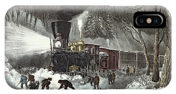 Snowy Road iPhone Case - Currier And Ives by American Railroad Scene