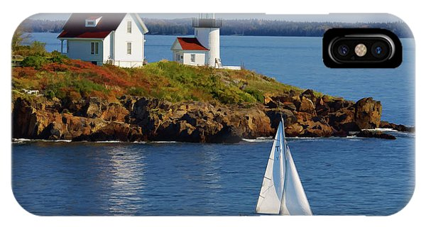 Curtis Island Lighthouse - D002652b IPhone Case