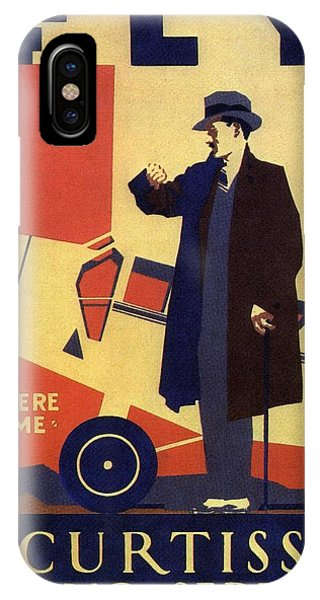 Buy Art Online iPhone Case - Curtiss Flying Service - Art Deco Poster - Vintage Advertising Poster  by Studio Grafiikka