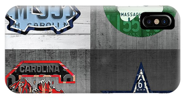 Gamecocks iPhone Case - Custom 4 Team License Plates Sport Art No 1 by Design Turnpike