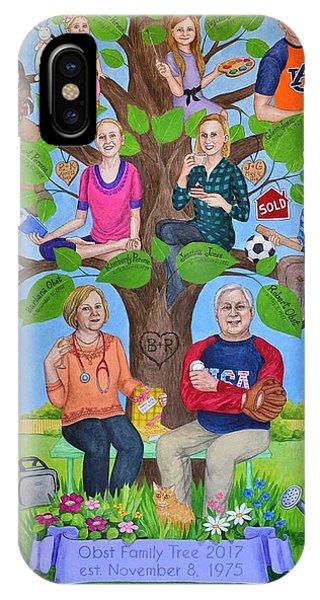 Custom Family Tree Art For Mom's 65th Birthday Phone Case by Natasha Sazonova