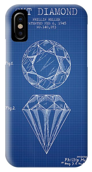Cut Diamond Patent From 1873 - Blueprint IPhone Case