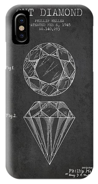 Cut Diamond Patent From 1873 - Charcoal IPhone Case