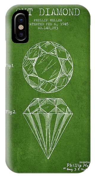 Cut Diamond Patent From 1873 - Green IPhone Case