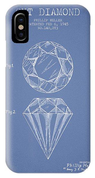 Cut Diamond Patent From 1873 - Light Blue IPhone Case