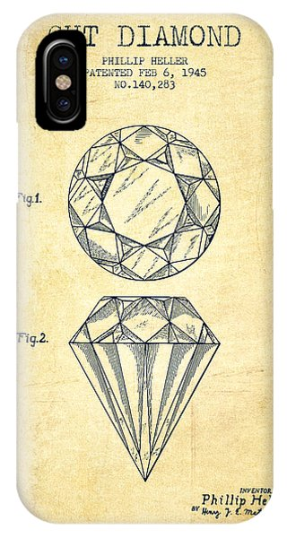 Cut Diamond Patent From 1873 - Vintage IPhone Case